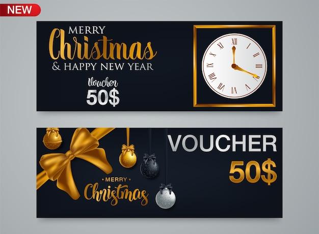 Kerst cadeaubon voucher sjabloon met traditionele achtergrond