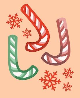Kerst candy cane met verschillende kleuren