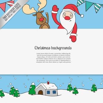 Kerst cartoon achtergronden
