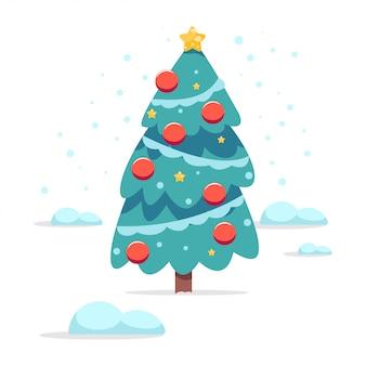 Kerst cartoon boom versierd ballen en garland geïsoleerd op wit.