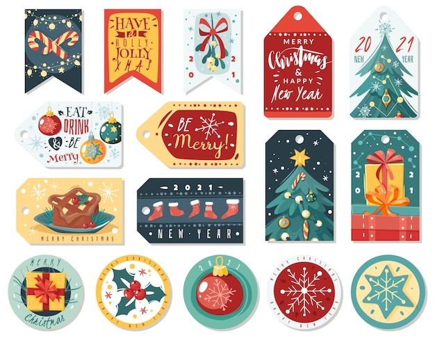 Kerst cartoon cadeau-tag en sticker set