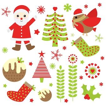 Kerst cartoon illustratie met kerstman, kerstboom en ornamenten sticker decorontwerp