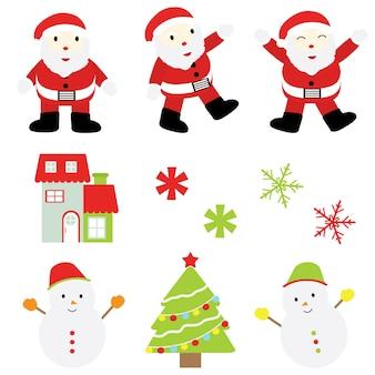 Kerst cartoon illustratie santa claus, sneeuwman, xmas ornamenten sticker decorontwerp