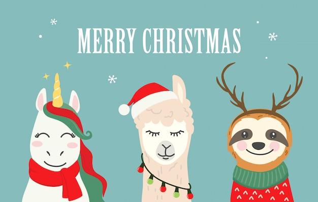 Kerst cartoon karakter illustraties van schattige eenhoorn, lama alpaca, luiaard