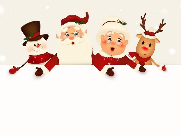 Kerst cartoon karakter metgezellen met groot leeg bord, witte kopie ruimte. grote lege ruimte voor design. kerstman, mevrouw claus, rendier, sneeuwpop met groot leeg bord. illustratie.