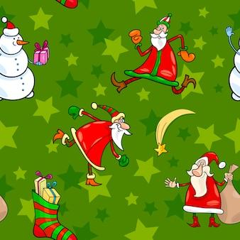 Kerst cartoon naadloze patroon ontwerp