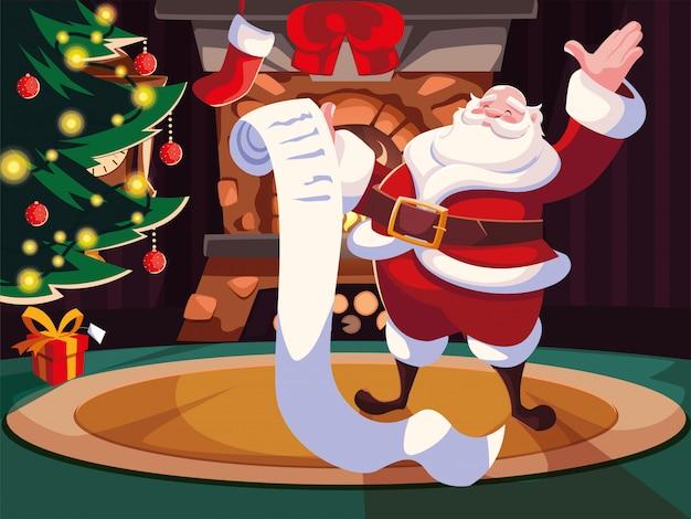 Kerst cartoon van de kerstman met cadeau lijst
