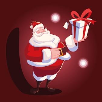 Kerst cartoon van de kerstman met geschenkdoos