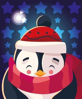 Kerst cartoon van pinguïn met sjaal