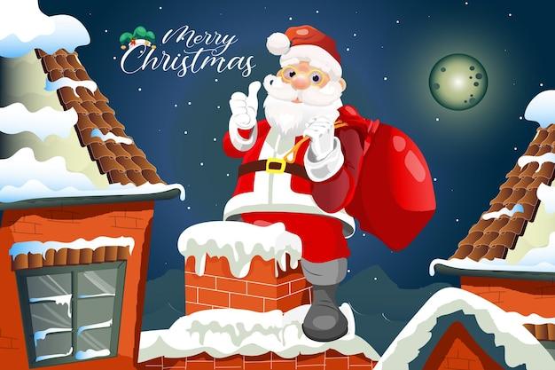 Kerst cartoon wenskaart met de kerstman klim door de schoorsteen