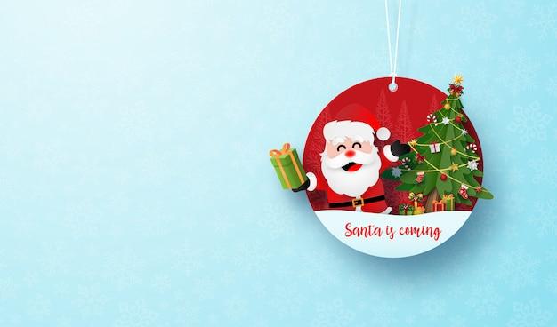 Kerst cirkel tag banner en hangende touw op blauwe sneeuwvlok