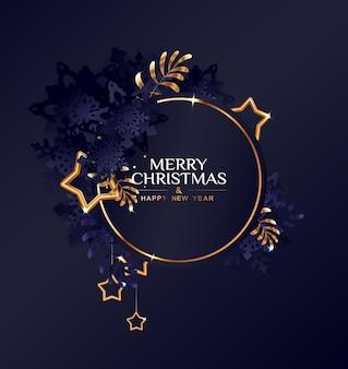 Kerst cirkelframe met donkerblauwe sneeuwvlokken en gouden sterren.