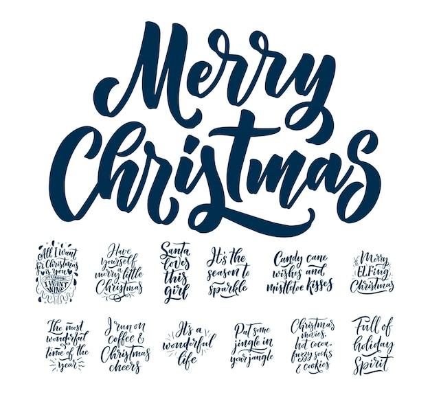Kerst citaten. winter xmas slogans. hand getekend kalligrafische letters.