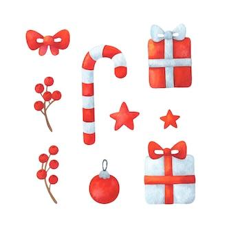 Kerst clipart met geschenken, snoep, kerstbal, boog, bessen, sterren. rode decoratieve elementen