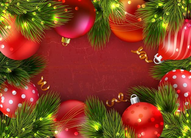 Kerst compositie frame met decoratieve fir naald