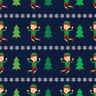 Kerst concept elf met kerstboom naadloze patroon