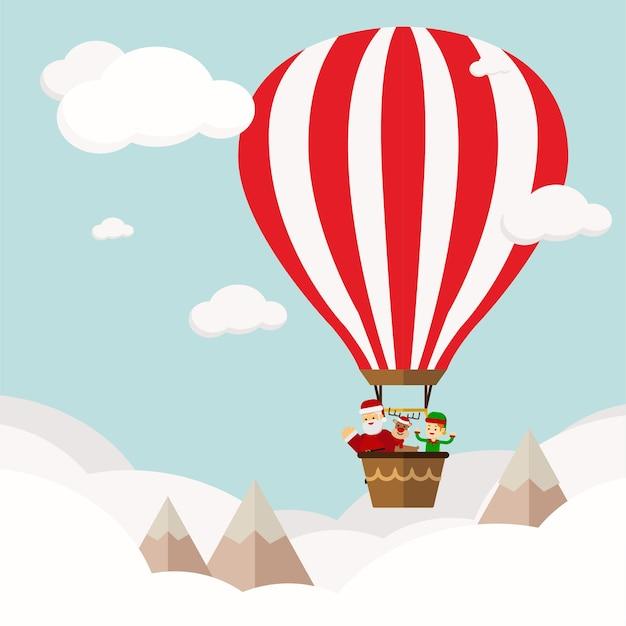 Kerst concept grappig nieuwjaar bedrijf in heteluchtballon