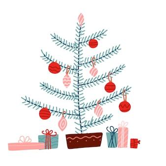 Kerst concept. kerstboom versierd met decoratieballen en kerstballen met veel cadeau