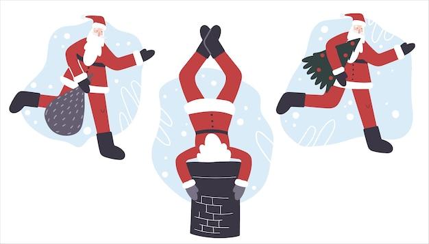 Kerst concept. set van de kerstman. illustratie in cartoon-stijl.