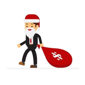 Kerst concept zakenman gekleed in santa claus-pak komt met een zak geld dollar