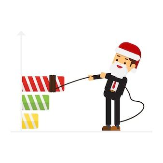 Kerst concept zakenman gekleed in santa claus pak winstgroei in de vorm van een ag