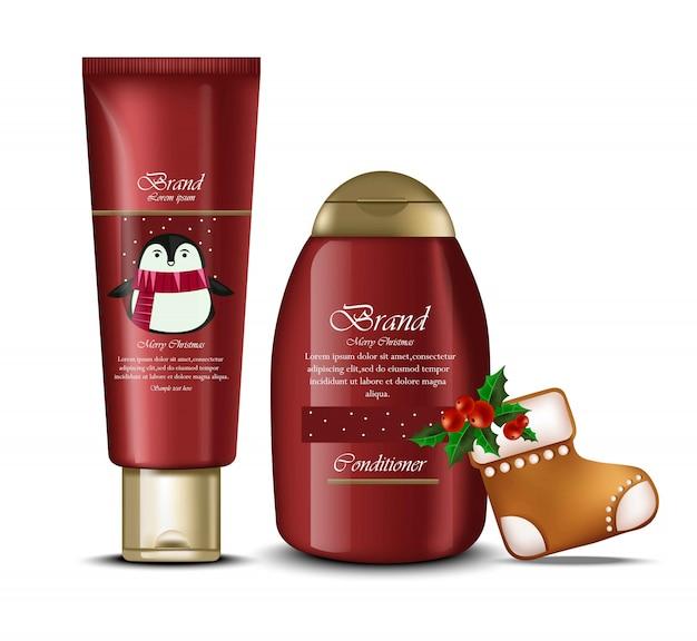 Kerst cosmetische verpakking geschenken geschenken realistisch. feestelijke kerstmallen