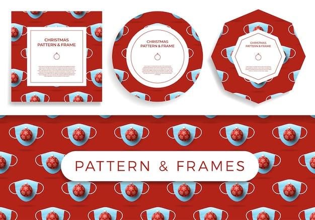 Kerst covid naadloze patroon en frame set illustratie