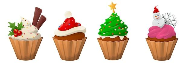 Kerst cupcakes cartoon