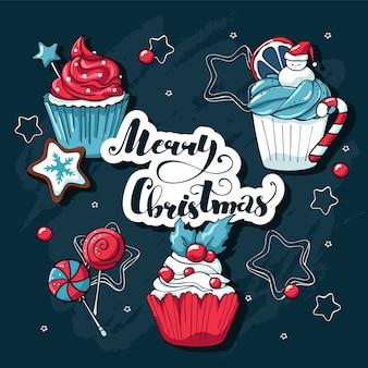 Kerst cupcakes en snoep set met kerst elementen