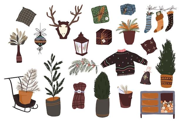 Kerst cute cartoon elementen indoor decor sticker decorontwerp