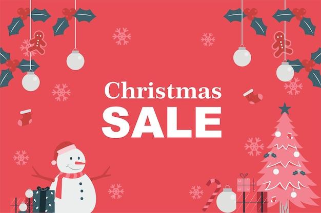 Kerst dag verkoop backround sneeuwpop en kerst objecten vector illustratie