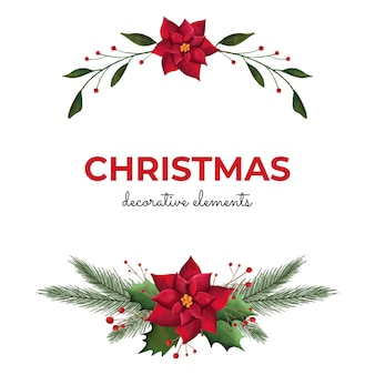Kerst decoratieve aquarel elementen