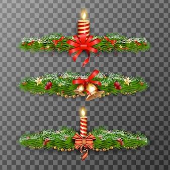 Kerst decoratieve elementen geïsoleerd