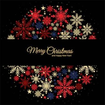 Kerst decoratieve kleurrijke sneeuwvlokken wenskaart