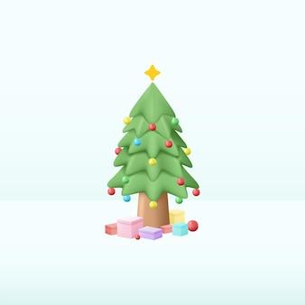 Kerst dennenboom decor met een huidige cadeau 3d illustratie