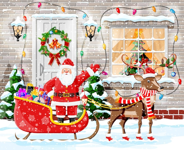 Kerst deurdecoratie met santa en sneeuw