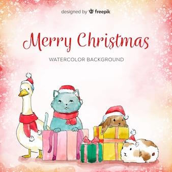 Kerst dieren achtergrond