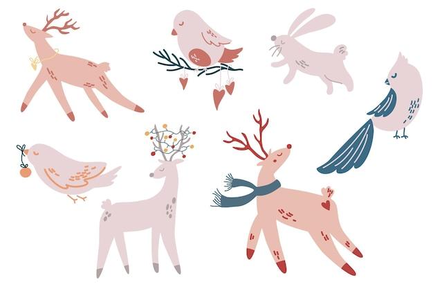 Kerst dieren. herten, vogels, konijntjes. handgetekende karakters. wintervakantie seizoen nieuwjaar evenement. vectorillustratie.