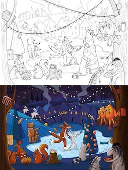 Kerst dieren kleurplaat
