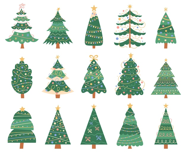 Kerst doodle bomen doodle xmas sparren winter vakantie decoraties geïsoleerde vector symbolen set