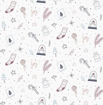 Kerst doodle naadloos