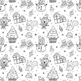Kerst doodle patroon