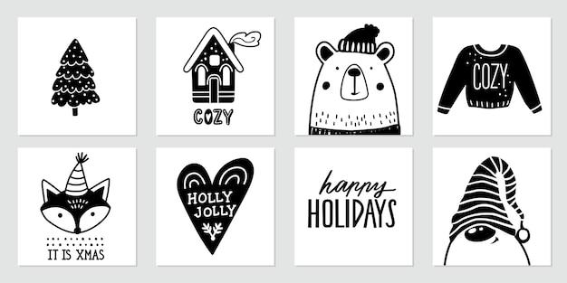 Kerst doodle posters met kerstman, kabouter, schattige beer, vos, kerstboom, gezellig huis, lelijke trui en belettering citaten. gelukkig nieuwjaar en kerstcollectie in schetsstijl.