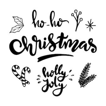 Kerst doodle set kerstboom tak planten snoep en guirlande hand getrokken xmas pictogrammen