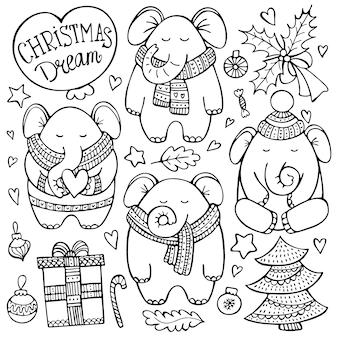 Kerst doodle set met olifanten in gebreide sjaals omgeven door decoratieve elementen