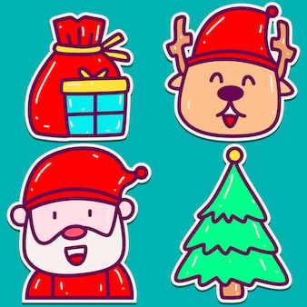 Kerst doodle sticker ontwerp