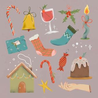 Kerst doodle sticker set, schattige doodle illustratie vector