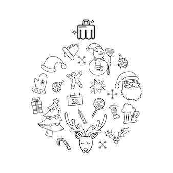 Kerst doodles elementen aangelegd in de vorm van een kerstbal. hand getekende vectorillustratie