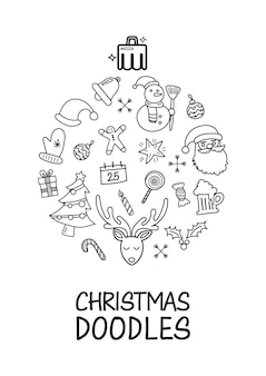 Kerst doodles elementen aangelegd in de vorm van kerst bal poster. hand getekende vectorillustratie