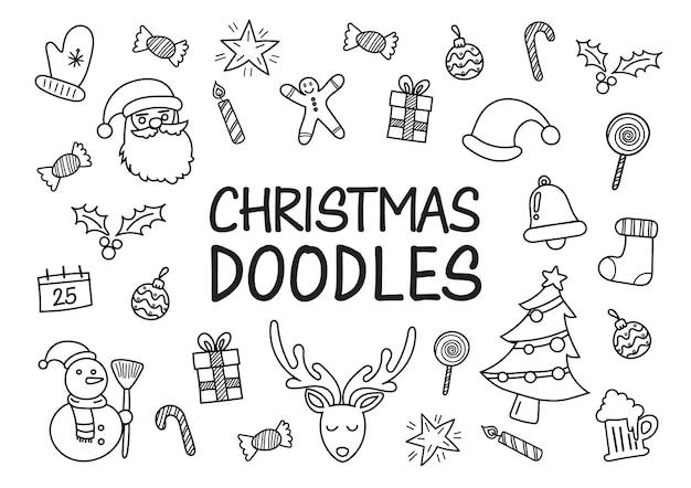 Kerst doodles hand getekende pictogrammen. vector illustratie